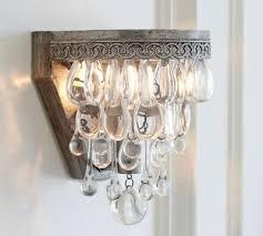 pottery barn clarissa crystal drop wall sconce light lighting fixture