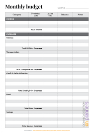 Budget Expenses Template Download Printable Monthly Budget With Total Expense