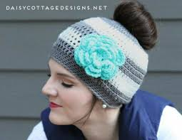 Free Crochet Hat Pattern With Ponytail Hole Interesting The Best Free Crochet Ponytail Hat Patterns Aka Messy Bun Beanies