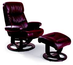 Rebel Leather Recliner and Ottoman Lane