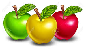 green and red apples. apples of different types and colors with yellow fruit in front natures green red