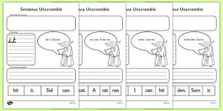Learn the sounds and words. New Phase 2 Space Wars Sentence Unscramble Activity Sheets Sentence Unscramble Sentences Phonics Worksheets