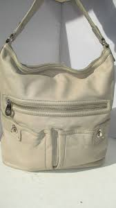 MARC BY MARC JACOBS TOTALLY TURNLOCK LARGE LIGHT GRAY LEATHER HOBO HANDBAG