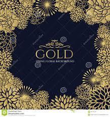 Blue And Gold Design Gold Floral Frame On Dark Blue Background Vector Art Design