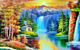 sunset waterfall scenery drawing