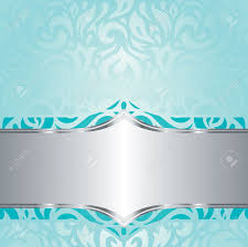 Free Invitation Background Designs Retro Floral Blue Green Turquoise Silver Holiday Vintage Invitation