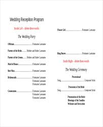wedding party program templates 10 wedding program templates free sample example format