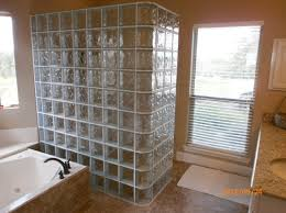 walk in shower with glass blocks after