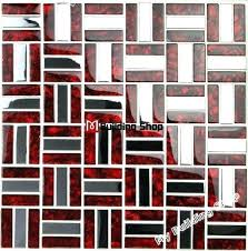 red glass mosaic tile red glass mosaic stainless steel tile silver metal mosaic glass tile bathroom red glass mosaic