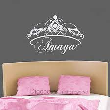 personalized girls room decor vinyl wall decal custom name decal princess crown for kids bedroom playroom 19 h x 28 w plus free welcome door decal