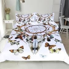 high quality watercolor bedding set dreamcatcher feathers duvet cover set bohemian printed sheep head printed queen king size luxury duvet covers girl