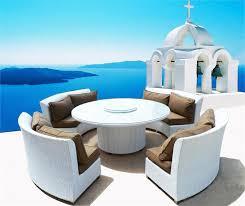 white wicker patio furniture set