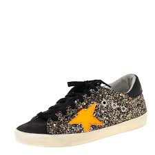 Golden Goose Size Chart Us Golden Goose Black Neon Orange Glitter And Suede Superstar Lace Up Sneakers Size 36