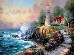 light of peace 16x20 classic edition framed canvas thomas kinkade lighthouse