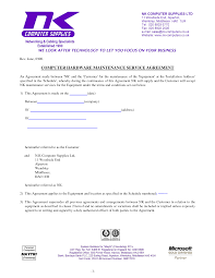 Supply Contract Templates Computer Support Computer Support Agreement Sample Software 18