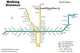 map shows walking times between ttc subway stops