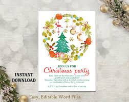 Printable Christmas Card Templates Fascinating Printable Christmas Party Invitation Template Wreath Holiday