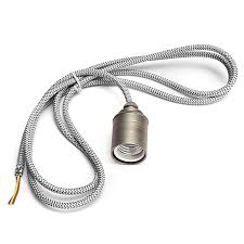 2m e27 e26 vintage fabric cable pendant light hanging filament lamp bulb holder socket