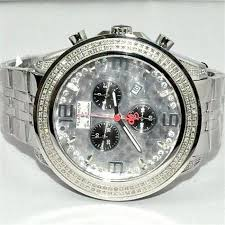 rode mens watch platinum 1 75ctw real diamonds big face stainless zoom