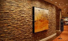 Natural stacked stone feature wall in restaurant