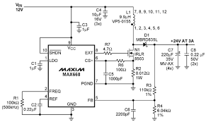 12v to 24v dc converter power supply circuit diagram the circuit has a 24v output and can deliver current up to 3 amperes a switching frequency of 500khz was chosen as a compromise between switching loss and