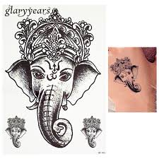 Us 078 30 Off1 Piece Black Color Tattoo Sticker Thailand Ganesh Elephant God Pattern Women Body Art Temporary Tattoo Sticker Waterproof Hb686 In