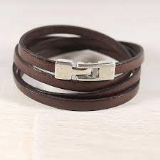 women handmade leather wrap bracelet simple brown