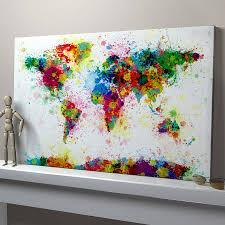 paint splashes world map art print