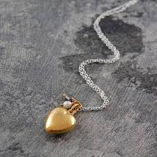 18k yellow gold puffed heart june pearl locket necklace