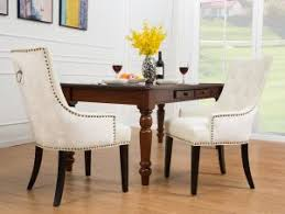 iconic home cadence dining side chair on tufted pu leather velvet polished br nailheads espresso finished wooden legs white modern transitional
