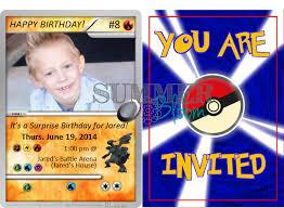 Pokemon Birthday Card Template Stylish Pokemon Birthday Invitations