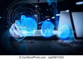 Hand Reflection Chart Businessman Hand Touch Virtual Pie Chart
