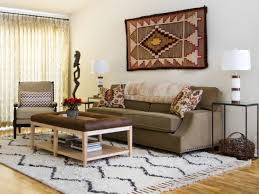 rug doubles as wall hanging in eclectic living room