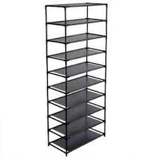 Home Basics 10 Tier Coated Non Woven Shoe Rack 100Pair 100 in H Reclaimed Wood 100Shelves Shoe OrganizerZ151010073 68