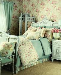 Shabby Chic Bedroom Wallpaper Shabby Chic Bedrooms With Floral Wallpaper And Blue Curtain And Divider 834x1024jpg