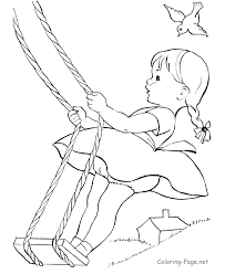 Small Picture Summer coloring page Little girl swing Kids For creative and