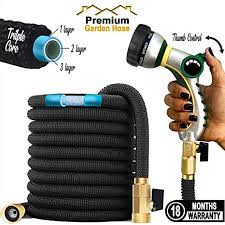 amazon ultimate expandable garden hose with thumb control 25 50 75 100 ft stronger triple latex core heavy duty thumb control spray nozzle 3 4 usa