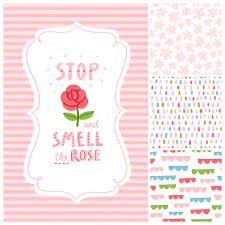 Stop and smell the <b>rose</b> decorations set with 4 seamless <b>patterns</b> ...