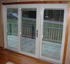 interior view sliding patio door with internal mini blinds