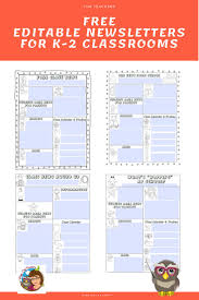 Newletter Formats Editable Newsletters For Teachers Five Templates Free Pdf