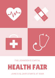 Health Fair Flyers Red Illustration Health Fair Flyer Templates By Canva