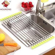 foldable dish drying rack drain rack kitchen sink shelf stainless steel roll up dish drying rack