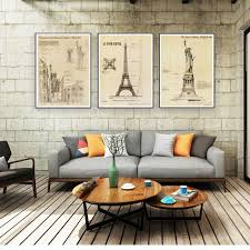 Building Drawings Wall Art Eiffel Tower Statue Of Liberty Art Canvas Beauteous Blueprint Interior Design Painting