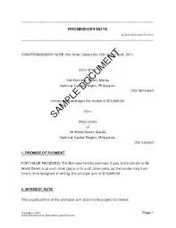 Promissory Notes For Sale Mortgage Promissory Note Free Sample