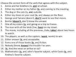 Correct Subject Verb Agreement 75 Main Group