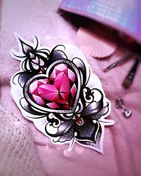 Neo Traditional Girly Tattoo Design Red Black Crystal