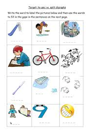 Ruled lines, short vowel sounds, consonant digraphs, and words to copy. I E Split Digraph Worksheet Teaching Resources