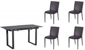 livorno 176cm extending ceramic dining table in dark grey 4 grey dining chairs