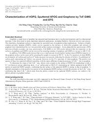 Characterization of HOPG, Sputtered HPOG and Graphene by ToF-SIMS and XPS