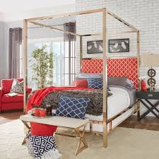 Solivita Champagne Gold Queen-size Metal Canopy Bed by iNSPIRE Q Bold -  Free Shipping